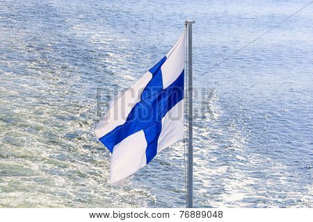 Flag Of Finland On Cruise Ship.