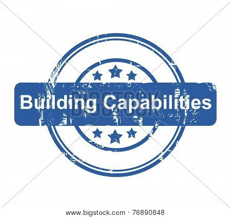 Building Capabilities business concept stamp with stars isolated on a white background.
