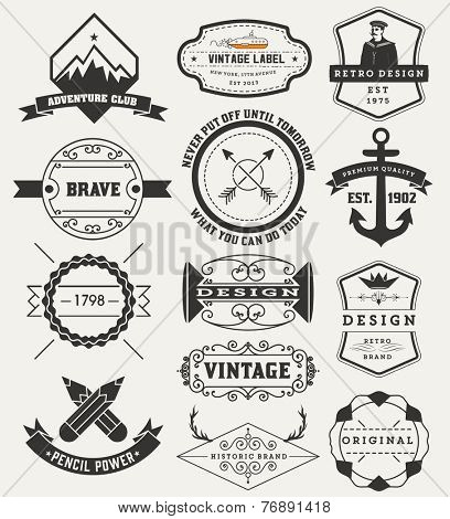Vintage Insignias / logotypes set. Vector design elements, logos, identity, objects, labels,and badges.