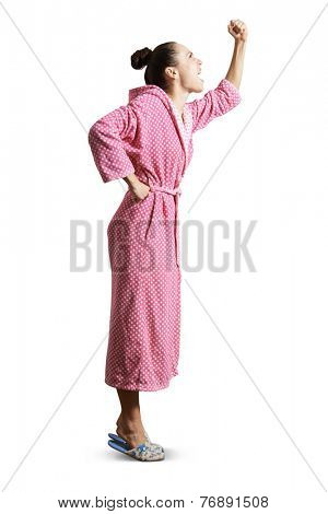 displeased housewife showing fist, screaming and looking up. isolated on white background