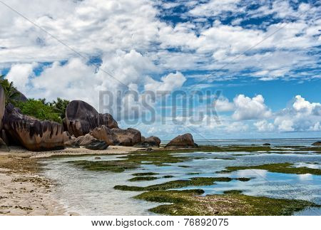 Fascinating Seascape at Anse Source d'Argent at La Digue Island, Seychelles. An Enchanting Destination for Holiday Vacation.