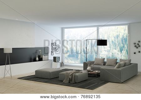 3D Rendering of Gray Couches at Elegant White Architectural Living Room with Glass Windows for Natural Outside View.