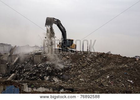 wrecking crane on debris