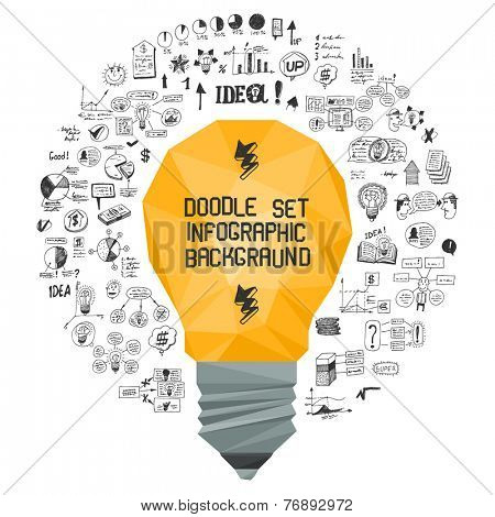 Doodle set - info-graphic background & original flat design light bulb