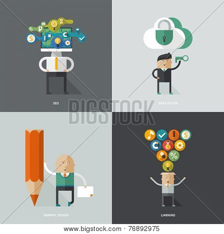 Set of flat design concept images for infographics, business, web, education, art, programing