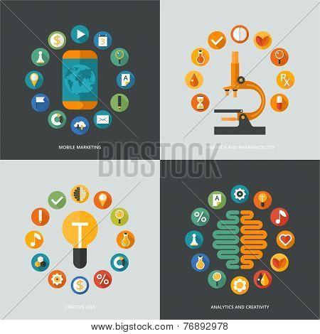 Set of flat design concept images for infographics, business, web