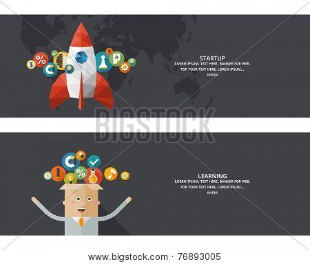 Set of flat design concept images for infographics, business, web, startup, learning, information