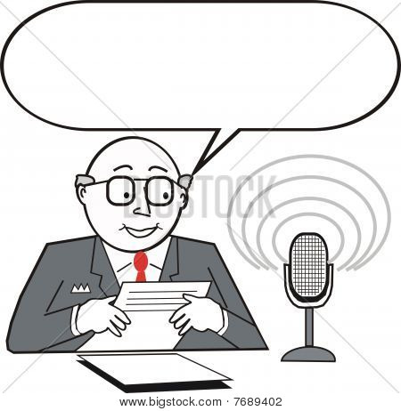Newsreader cartoon
