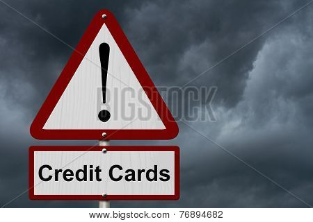 Credit Cards Caution Sign