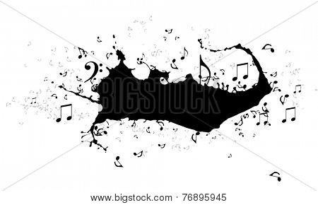 Conceptual image with black splashes and music clef