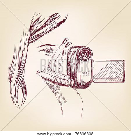 videographer hand drawn vector llustration
