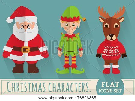 Flat Christmas Characters: Santa, Elf And Reindeer. Vector Set.