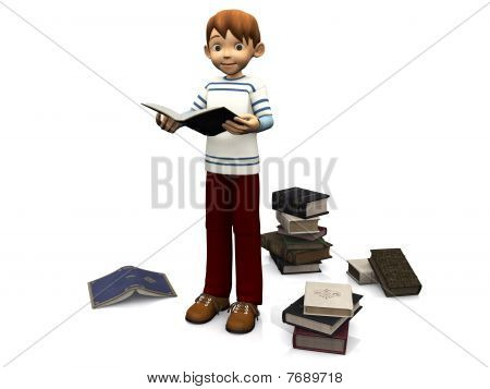 Cute Cartoon Boy Reading Book.