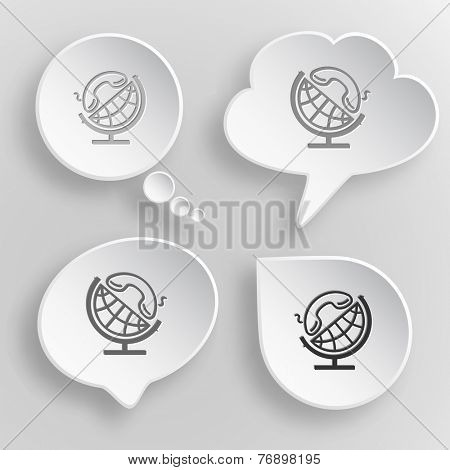 Globe and handset. White flat vector buttons on gray background.