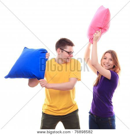Boy And Girl Pillow Fight