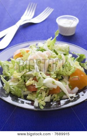 Fresh Salad With Shrimp And Tomato