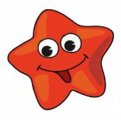 picture of spanking  - Cartoon red starfish isolated on white background - JPG
