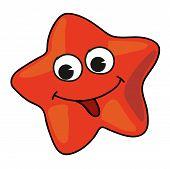 image of spank  - Cartoon red starfish isolated on white background - JPG