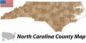 image of burlington  - A large and detailed map of the State of North Carolina with all counties and main cities - JPG