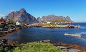 picture of reining  - Picturesque fishing town of Reine by the fjord on Lofoten islands in Norway - JPG