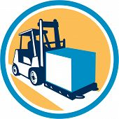 image of lift truck  - Illustration of a forklift truck and driver at work lifting handling box crate set inside circle on isolated background done in retro style - JPG
