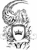 image of pegasus  - heraldic pegasus coat of arms crest shield in vector format very easy to edit - JPG