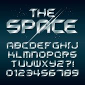 picture of futuristic  - Futuristic Silver Chrome Alphabet And Numbers - JPG