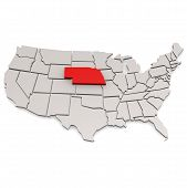stock photo of nebraska  - Nebraska map image with hi - JPG