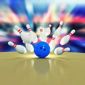picture of bowling ball  - Scattered skittles and bowling ball - JPG