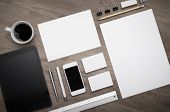picture of letterhead  - Letterhead design mockup set top view on wooden table - JPG
