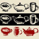 foto of tea party  - sketchy tea coffee doodles - JPG
