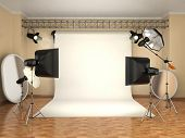 image of flashing  - Photo studio with lighting equipment - JPG
