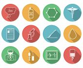picture of anesthesiology  - Set of colored circle vector icons with black silhouette symbols for anesthesiology on white background - JPG