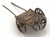 stock photo of wagon wheel  - Old wagon cart with wooden wheels isolated on white background - JPG