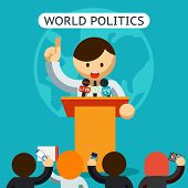 stock photo of politician  - Colored Graphic Design of Cartooned World of Politics Concept on Blue Green Background - JPG