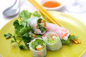 pic of studio shots  - studio shot of vietnamese food summer rolls - JPG
