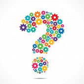 stock photo of color wheel  - Abstract Question Mark design With colorful Cog Wheels vector - JPG