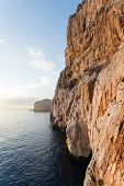 pic of grotto  - high cliffs and sea Neptune Grotto in Sardinia Italy - JPG
