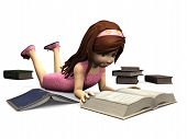 picture of storytime  - A cute cartoon girl in pink dress lying on the floor and reading a book - JPG