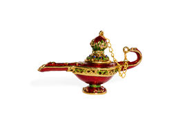 picture of aladdin  - Red ceramic Aladdin magic lamp with a cover on a chain isolated on a white background - JPG