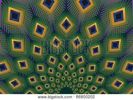 Peacock Feathers Modern Pattern Vector Background