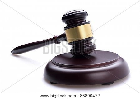 judge hammer on isolated background