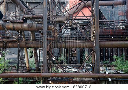 Rusty pipes and construction