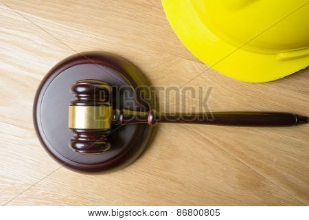 judge hammer and worker helmet