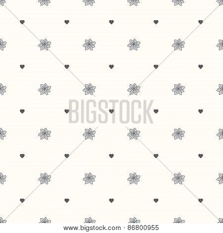 Vector seamless retro pattern, heart and flower Bud