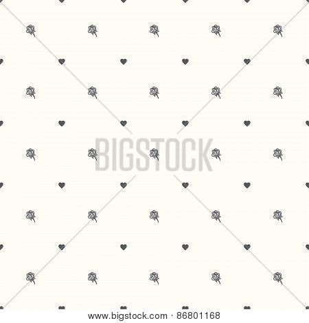 Vector seamless retro pattern, rose and heart.
