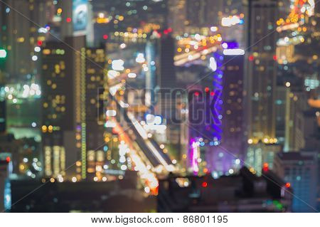 Beautiful cityscape, blurred abstract background lights