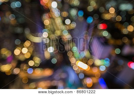 Cityscape in middle of Bangkok, Blurred bokeh background