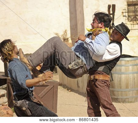 A Street Brawl At Old Tucson, Tucson, Arizona