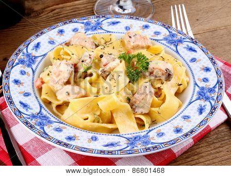 Fish Salmon Fillet With Tagliatelle Noodle, Cream Sauce